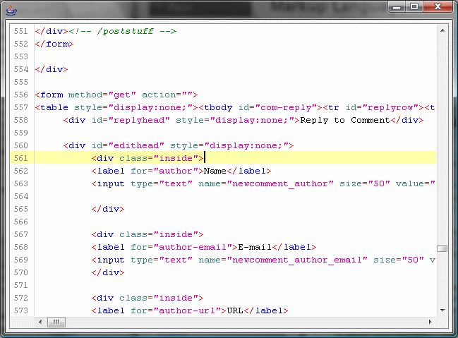 Example of HTML behind a webpage.